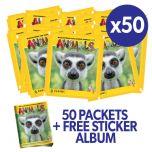 Animals 2020 Sticker Collection - Bundle of 50 packets + FREE sticker album