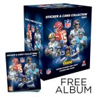 NFL Sticker & Trading Card Collection 2021 - Bundle of 50 Packets + FREE Sticker Album