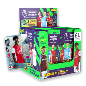 Premier League Adrenalyn XL 21/22 Trading card Collection - 70 Count Box with Platinum Baller No 1 numbered to 200