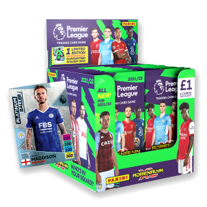 Premier League Adrenalyn XL 21/22 Trading card Collection - 70 Count Box with Platinum Baller No 4 numbered to 200